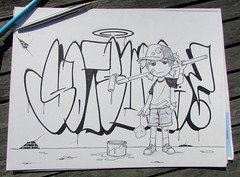 Ryck Wane (ryckwane) Tags: brussels graffiti sketch belgium belgique manga rick bruxelles rik sms dessins rfk throwup yotsuba drawning rike wane ryck