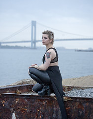 (sarajdsign) Tags: ocean nyc bridge ny black leather island bay harbor grunge tatto staten verazzano