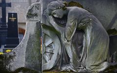 Trost mag da nicht aufkommen (niedersachsenfoto) Tags: skulptur frau grabstein halle trauer grabmal stadtgottesacker grabstelle niedersachsenfoto