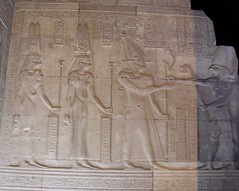 Kom Ombo, Temple of Horus and Sobek, Ptolemy VIII, Cleopatra II, and Cleopatra III (dr.heatherleemccarthy) Tags: sculpture texture monument stone architecture night writing temple ancient stonework text egypt relief hieroglyphs cleopatra ptolemaic ptolemy