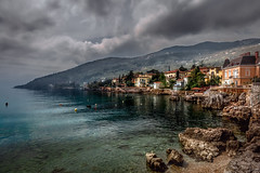 Lovran Light (Bernd Thaller) Tags: city blue sea beach water yellow architecture landscape coast town seaside waterfront outdoor gray coastal shore hr adria kroatien lovran kvarner primorskogoranskaupanija