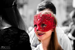 Red mask (kdymkowski) Tags: red woman white black girl festival fun costume mask young human mysterious mysery
