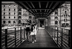 A cubierto (meggiecaminos) Tags: bridge bw white black blanco germany puente couple footbridge pareja negro hamburg streetphotography bn ponte deck walkway pasarela alemania hamburgo bianco nero warehouses germania urbanlandscape coppia hafencity tablero almacenes fotografaurbana kibbelstegbrcke