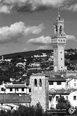 Le due torri, Firenze (filippi antonio) Tags: city sky blackandwhite italy tower clouds landscape florence italia nuvole cityscape torre cielo tuscany vista firenze toscana veduta paesaggio biancoenero citt allaperto monocromatico paesaggiourbano