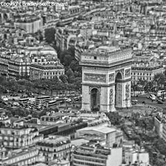 Arc de Triomphe from the Eiffel Tower (BradleyScottBravard) Tags: urban blackandwhite paris france architecture arcdetriomphe urbanlandscape