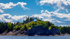 summer bright (plachance) Tags: trees summer sky water clouds forest landscape lighthouses maine dxo canonef24105f4l canon5dmkii