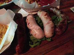Radegast Hall & Biergarten - Sausage Platter (bratwurst, currywurst, kielbasa) (willy cheesesteak) Tags: food ny nyc newyork newyorkcity williamsburg brooklyn radegasthallbiergarten radegast german sausages bratwurst currywurst kielbasa
