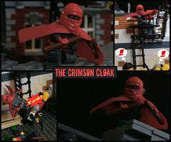 The Crimson Cloak - Biography (jgg3210) Tags: new city roof crimson alley comic lego top bio comicbook superhero cloak thugs biography loh minifigure moc minifigures leagueofheroes brickton