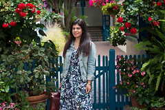 Floral Maxi Dress, Denim Jacket, brown sandals-1.jpg (LyddieGal) Tags: california ona bananarepublic blue camerabag denim fashion floral gap gorjana maxi outfit pineapple spring style trask travel vacation wardrobe weekendstyle