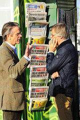 Actor Jeremy Irons and Director Bille August having a talk between takes during the shooting of the film Night Train to Lisbon at the Belém Ferry Terminal in Lisbon, Portugal. (Visit Portugal) Tags: cinema film portugal movie shoot lisboa lisbon scene cast crew actor production shooting filme director cena christopherlee jeremyirons thriller suspense onset filmagem ator tomcourtenay brunoganz equipa diretor elenco bastidores filmagens produção charlotterampling lenaolin pascalmercier nighttraintolisbon martinagedeck rodagem billeaugust augustdiehl mélanielaurent jackhuston nicolaubreyner burghartklaussner