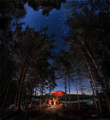 Bonfire (a.Kry) Tags: trees sky panorama night river stars spring pano tunnel rafting bonfire 7d   stereographic       stereographicprojection    kerzhenets  akryphotoart canoneof7d