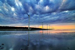 Kaomei Wetland  (Vincent_Ting) Tags: sunset sky water windmill silhouette clouds taiwan  formosa   windturbine wetland