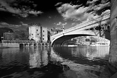 Lendal Bridge - Explored 25/04/12 (mark_mullen) Tags: york city uk bridge england blackandwhite bw english water monochrome town highcontrast explore flowing span northyorkshire riverouse lendalbridge littlefluffyclouds canon1740f4 flickrexplore explored flickrexplored canon5dmk3 markmullenphotography