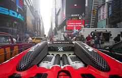 Overlooking Time Square (Philippe Collinet Photography) Tags: newyork bug convertible timesquare bugatti cabrio veyron cabriolet gumball3000 grandsport bugattiveyrongrandsport wwwphilippecollinetbe teamtrust philippecollinetphotography