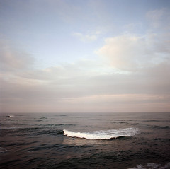 wave form. (manyfires) Tags: ocean sea film oregon sunrise mediumformat square coast jetty wave hasselblad pacificocean pacificnorthwest coastline fortstevens hasselblad500cm