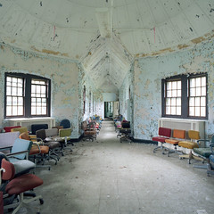 (.tom troutman.) Tags: ny abandoned 120 film hospital mediumformat hall chairs decay bronica 100 sq ektar kodal