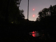 Radio Towers (15 sec.) (sixty8panther) Tags: red reflection tower night forest radio ma lights pond woods long exposure state led swamp shutter second flashlight mass fifteen lowell tyngsboro ldt dracut