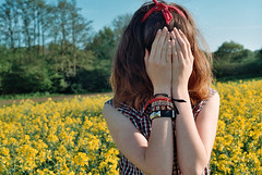 Photo24_20 (PoppyLunaCarter) Tags: flowers girl field yellow female makeup style teen crop teenager shorts brunette headband checked