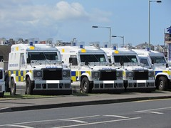 Three Armoured PSNI Land Rovers (Nick 999) Tags: blue ireland lights three riot control police land service northern portrush unit sirens rovers officers armoured psni