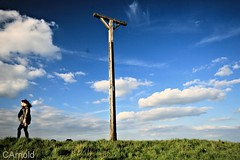 up to the gibbet (justyourcofchi) Tags: wood blue portrait sky sun colour nature grass clouds point countryside wooden spring model flickr photographer view hill berkshire bold gibbet combe ladnscape wallbury chiarnold justyourcupofchicom justyourcupofchi