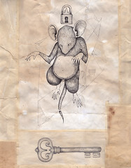 I don't know where, but there is (P-54) Tags: mouse rat key drawing mistic