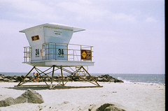 Tower 34 (ShannonElisabeth) Tags: film beach water sand nikon waves lifeguard southerncalifornia carlsbad lifeguardtower