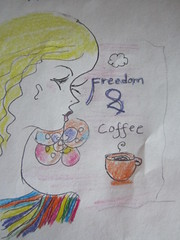 freedom and coffee (Candle_Of_Ice) Tags: color art window mushroom coffee pencil pencils drawing drawings tags health bliss cofee bluberries antioxidants