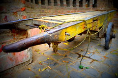 The Cart !! (priyam.n) Tags: yellow ancient crafts delhi transport transportation cart dillihaat