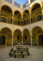 Inner Courtyard in the Medina, Old Town, Tripoli, Libya (Eric Lafforgue) Tags: africa architecture pillar nopeople porch mansion ottoman libya konak libia libye libyen osmanl revak lbia libi
