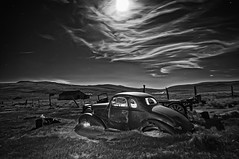 Old Studebaker by moonlight (Daniel Schwabe) Tags: ca longexposure bw moon car night surreal bodie studebaker wreck interestingness185 explore14jun2012