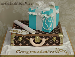 Louis Vuitton Grad Cake (Christina's Dessertery) Tags: cake gold louis diploma box chocolate glad pearls bow tiffany suitcase edible vuitton fondant gumpaste 24k christinajohnson creativecakedesigns