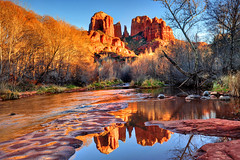 Standing Reverent (Ireena Eleonora Worthy) Tags: winter sunset red arizona cold colour reflection river stream sedona cathedralrock i mygearandme northernstraitsphotography