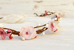 Soft Pink and White Bridal Flower Crown --- Bridal Wedding Accessory --- Floral circlet (osnat.ganor) Tags: handmade crown headband hairaccessories headpiece fabricflower bridalaccessory osnatganor odpaam flowershairaccessory odpaametsy