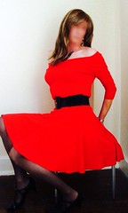 Oldies... (deborah summers2010) Tags: red stockings dress skirt slip
