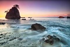 Okinawa kayo beach (koshichiba) Tags: ocean sunset sky seascape rock japan landscape long exposure tide wave filter shore lee nd  okinawa  kayo    beachside orenge  higashison