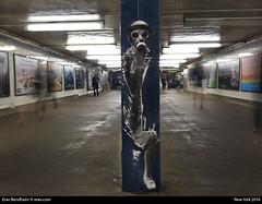 down on 14th st subway NYC (eraneran70) Tags: subway nikon women grafiti ghost apocalypse gas masks p900 transportation eran solider bendheim