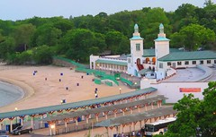Rye Playland Beach and Boardwalk from above (AndrewDallos) Tags: new york summer beach rye boardwalk