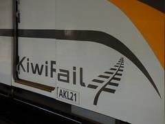 Kiwi Rail Fail (Steve Taylor (Photography)) Tags: newzealand orange brown black fern train logo fun grey design symbol nz southisland fail greymouth kiwirail