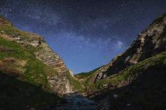 1076 (Keiichi T) Tags: blue light shadow sky mountain green water japan night canon river star  moonlight       milkyway 6d
