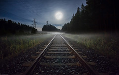 Rails_ (JLindroos) Tags: summer moon misty fog night zeiss canon finland landscape rocks rails pori reposaari jlindroos