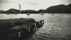 Conceio (danielhendrikx) Tags: trip travel vacation blackandwhite bw holiday mountains water brasil landscape boats photography photo day fuji photos harbour outdoor wideangle conceicao