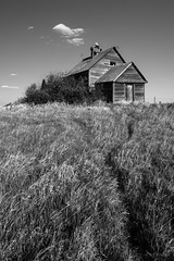Abandoned for 80 years (WherezJeff) Tags: blackandwhite cloud sunlight heritage history abandoned church overgrown field grass spring catholic memories meadow nopeople nostalgia alberta weathered christianity damaged ukrainian derelict pioneer thepast obsolete misfortune placeofworship lowangleview ukrainianculture woodmaterial