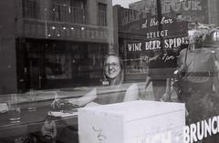 in the West Village (DoubleBen) Tags: leica city nyc blackandwhite newyork film window beer brooklyn dinner 35mm lunch restaurant store chelsea wine kodak tmax manhattan westvillage diner iso 400 brunch bernie asa af greenpoint c1 afc1