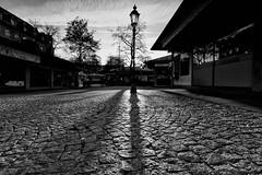 In the evening (explored) (AxelN) Tags: blackandwhite bw germany munich mnchen bayern deutschland bavaria sw lantern laterne gegenlicht viktualienmarkt schwarzweis silverefexpro2