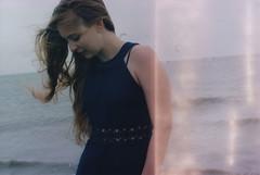 Alissa (Juliet Alpha November) Tags: ocean blue sea portrait film water analog 35mm meer wasser waves dress wind kodak jan north windy portrt plus 100 analogue expired nordsee vr wellen kleid windig meifert