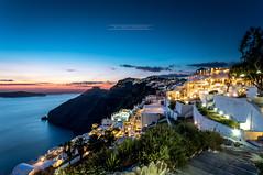 Firostfani , Santorin, Grce (David MONSU Photography) Tags: sunset night amazing europe santorini greece caldera bluehour santorin grce cycladesislands egeansea lheurebleue firostfani