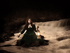 Guidance In The Dark (Maren Klemp) Tags: longexposure woman selfportrait painterly color art texture nature water canon vintage river outdoors stream dress fineart dream surreal naturallight nostalgia expressive nostalgic dreamy lantern conceptual timeless symbolic fineartphotography evocative fineartphotographer