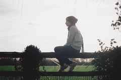 Patiently Waiting (Film by Emily) Tags: selfportrait fence bottomofthegarden film canonae1 calm nature silhouette colours emilyjacksonfilm emotion