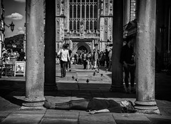 lying down (Daz Smith) Tags: city uk portrait people urban blackandwhite bw woman streets blancoynegro monochrome canon blackwhite bath candid young citylife thecity streetphotography led lying chosen canon6d dazsmith