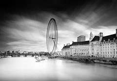 On Westminster Bridge (Richard Reader (luciferscage)) Tags: londoneye countyhall thames river london cloud sky water westminsterbridge longexposure